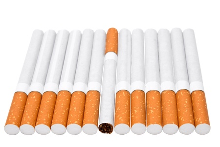 dangerously: Cigarets on a white background