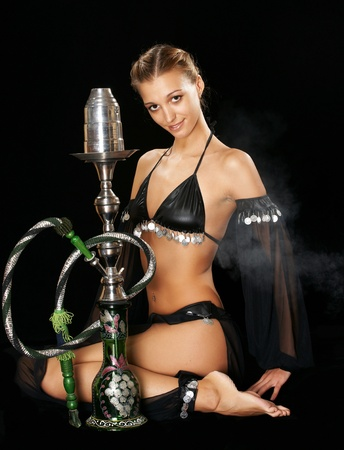 The sexy girl with a hookah