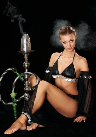 The sexy girl with a hookah photo