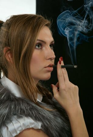 The girl with a cigarette Stock Photo