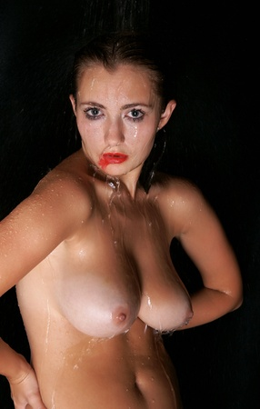 picture of wet nude brunette Stock Photo