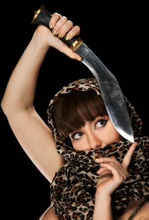 The young girl with a dagger photo