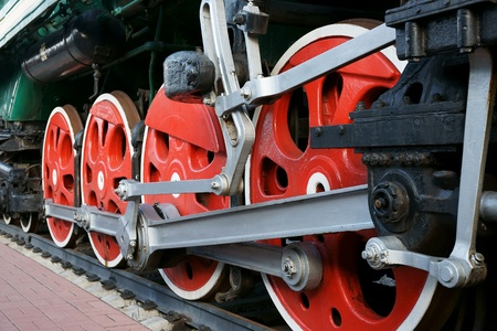 footplate: Wheels of an ancient steam locomotive Stock Photo