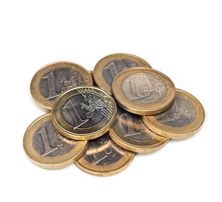 Euro coins isolated on white Stock Photo