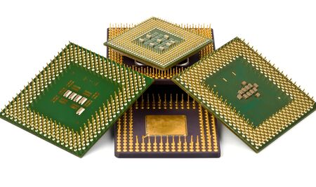intel: Old processors Stock Photo