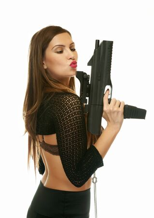 The girl with an automatic pistol photo