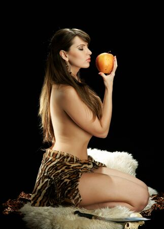 Amazon woman with an apple photo
