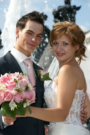 Young  Bride And Groom posing together Stock Photo - 13414023