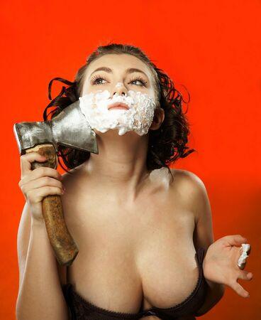 axe girl: The girl has a shave with an axe