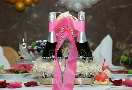 Wedding champagne on a table photo