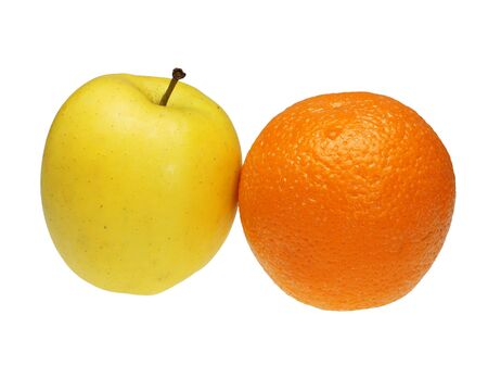 antipode: Apple and orange on a white background
