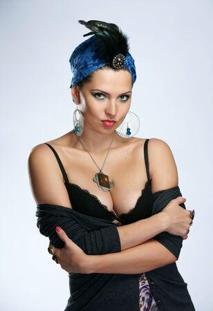 The beautiful woman in the Indian turban photo