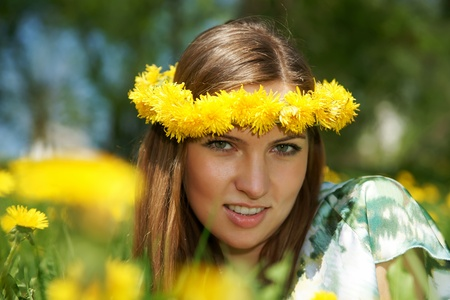 The girl with a wreath on a head Stock Photo - 13417627