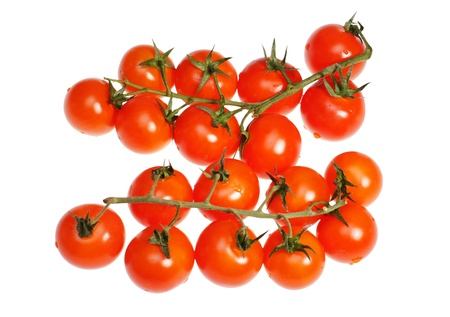 Tomatoes a cherry on a white background Stock Photo - 13415270
