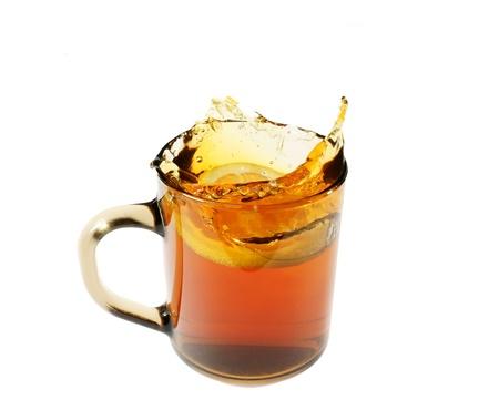 tea with lemon on a white background Stock Photo - 13415220