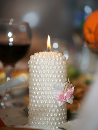 Wedding candle, it is photographed by close up photo