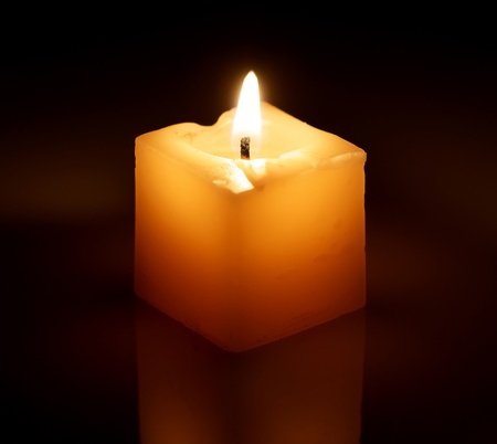Burning decorative candle.
