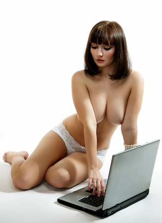 The sexy girl with the laptop