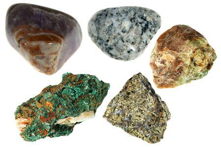 Minerals of Halkopirit, Disgraces, Granite, Malachite, Amethyst photo