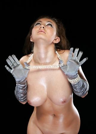 bared: The bared girl in gloves