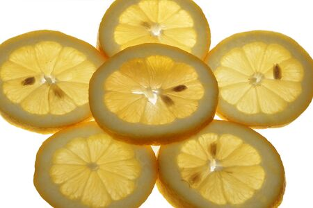 Slices of a ripe lemon, are photographed on a white background photo