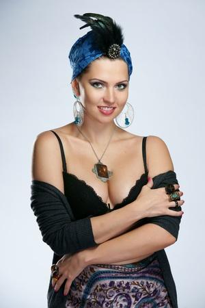 The beautiful woman in the Indian turban Stock Photo