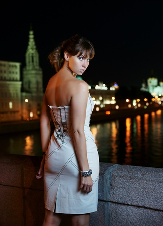 The girl against night Moscow