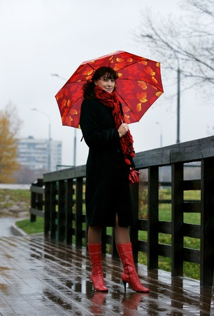 The beautiful girl with a red umbrella. photo