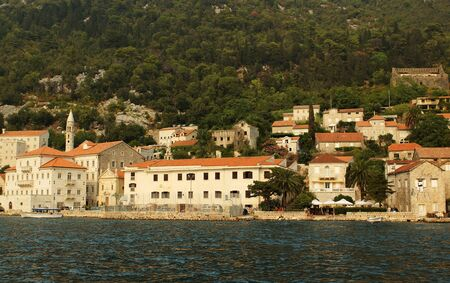 houses on the bank of the Kotorsky gulf, Kotor, Montenegro                            photo