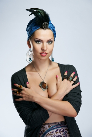 The beautiful woman in the Indian turban photo