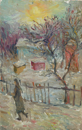 Mooie originele Olieverf Landschap op Canvas. Winter vrouw lopen op de straat in de buurt van het huis
