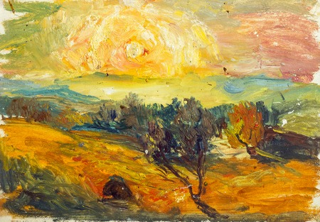 Beautiful Original Oil Painting of autumn landscape, haystack behind a fence on a background of green grass mountain range On Canvas