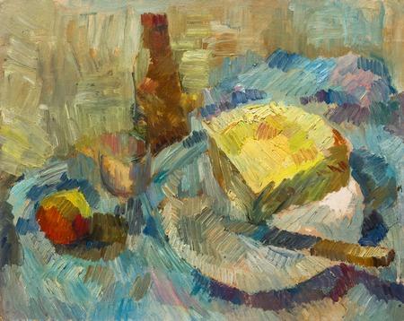 colores pastel: Hermosa pintura al óleo original Todavía botella abridor de Vida vidrio de manzana queso en colores pastel sobre lienzo
