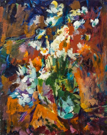 lowers: Beautiful Original Oil Painting lowers in a vase in bright orange colors of red and blue  On Canvas Stock Photo