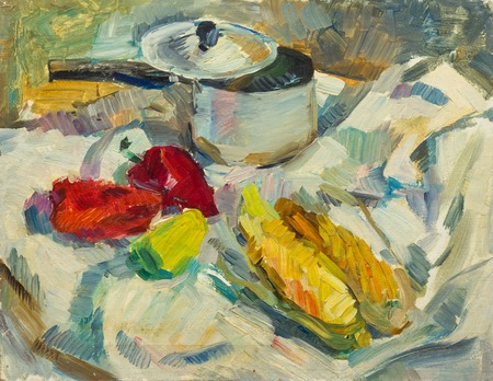 life style: Beautiful Original Oil Painting of  still life   pan peppers corn on tissue On Canvas in the style of Impressionism