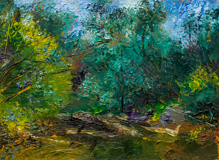 enchanting: Beautiful Original Oil Painting with enchanting landscape, river reeds trees, impressionism style green light green and pink colors