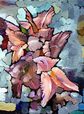 Olieverfschilderij stilleven met roze iris bloemen op canvas met textuur in in de grijstinten