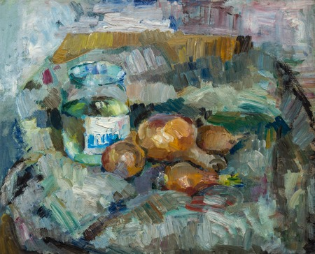 life style: Beautiful Original Oil Painting of  still life    pot bulb on fabrics On Canvas in yellow and blue colors in the style of Impressionism