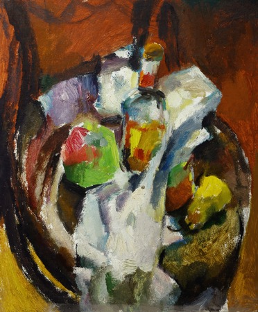 life style: Beautiful Original Oil Painting of  still life  bottle of apple pear on a fabric on a chair On Canvas in the style of Impressionism