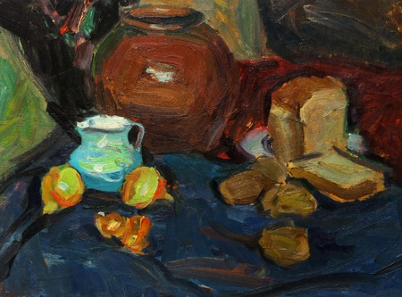 life style: Beautiful Original old Oil Painting of  still life pitcher, onions, cloth On Canvas in the style of Impressionism Stock Photo