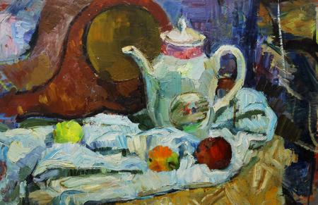life style: Beautiful Original old Oil Painting of  still life  mantel clocks, apples, fabric On Canvas in the style of Impressionism Stock Photo