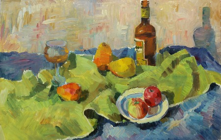 life style: Beautiful Original Oil Painting of still life glass bottle tray pear apple fabric shade On Canvas in the style of Impressionism