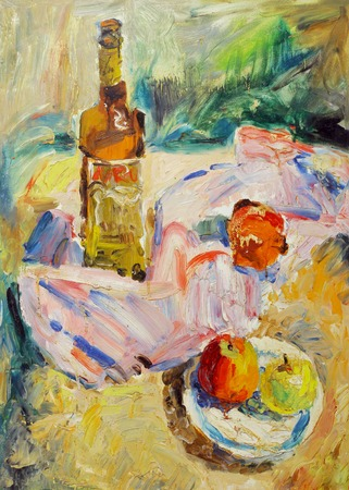life style: Beautiful Original Oil Painting of still life glass bottle tray apple fabric shade On Canvas in the style of Impressionism