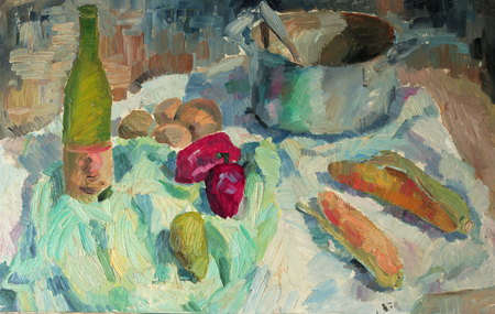 casserole: Beautiful Original Oil Painting of  still life pepper, corn casserole, cloth  On Canvas in the style of impressionism in pastel colors