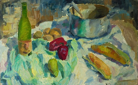 casserole: Beautiful Original Oil Painting of  still life pepper, corn casserole, cloth  On Canvas