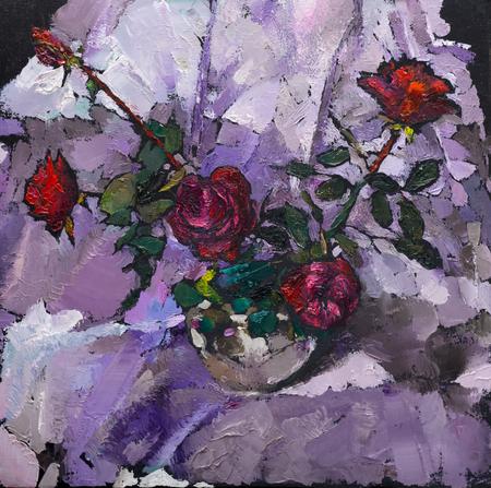 Olieverfschilderij stilleven met rode rozen bloemen op Canvas met textuur in roze tinten Stockfoto