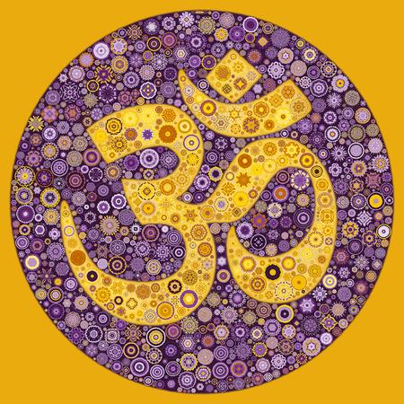 veda: OM Symbol Purple Yellow Mandala Mosaic in Circle