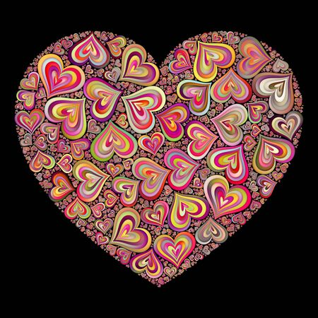 quilling: Pink Color Quilling Heart Shape Mosaic Pattern on Black Background