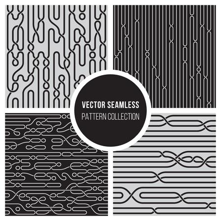 4 ベクトル線パターンのコレクションを編みシームレスな黒と白の結び目  イラスト・ベクター素材