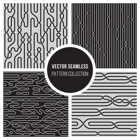 Four Vector Seamless Black and White Knot Braiding Lines Pattern Collection